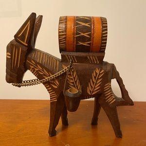 •Vintage• Wooden Carved Donkey